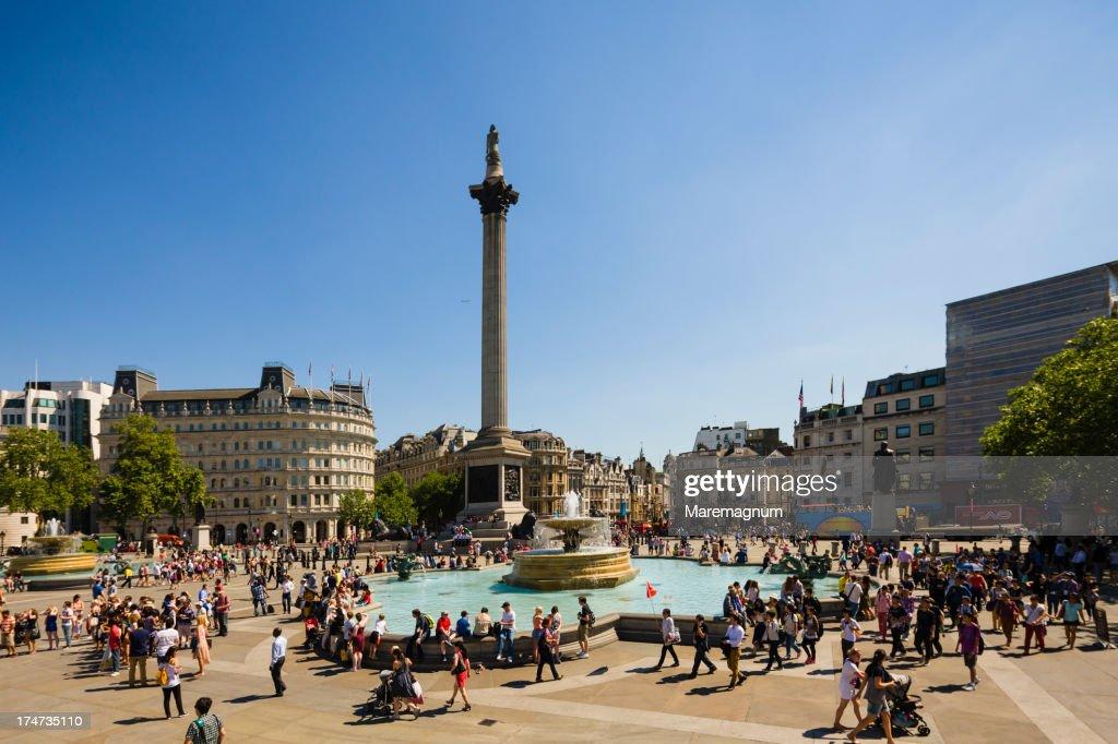 Trafalgar Square, the fountain and Nelson's Column