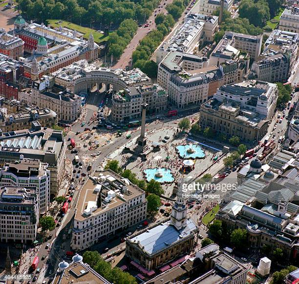 Trafalgar Square Westminster London 2002This picture was taken from above The Strand To the bottom left is the 1865 replica of the original Charing...