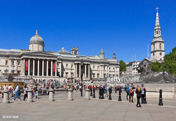 Trafalgar Square with National Gallery and St Martin-in-the-Fields Church, London.