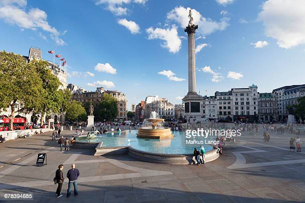 Trafalgar Square with Nelsons Column and fountain, London, England, England, United Kingdom, Europe