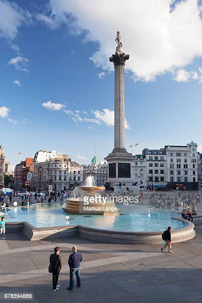 Trafalgar Square with Nelsons Column and fountain, London, England, United Kingdom, Europe