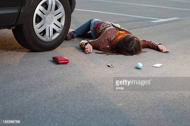 Traffic accident..young woman hit by a car