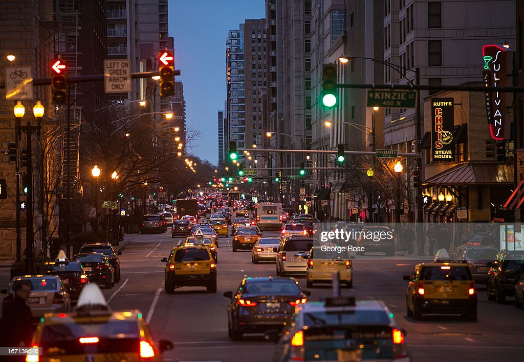 Traffic along Dearborn Street looking north is viewed on March 26, 2013, in Chicago, Illinois. Visitors to 'The Windy City,' the third most populous city in the United States, have had to bundle up due to an unusually cold spring.