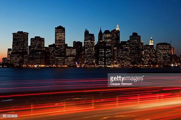 Traffic and cityscape at dusk, Manhattan, New York City, NY, USA