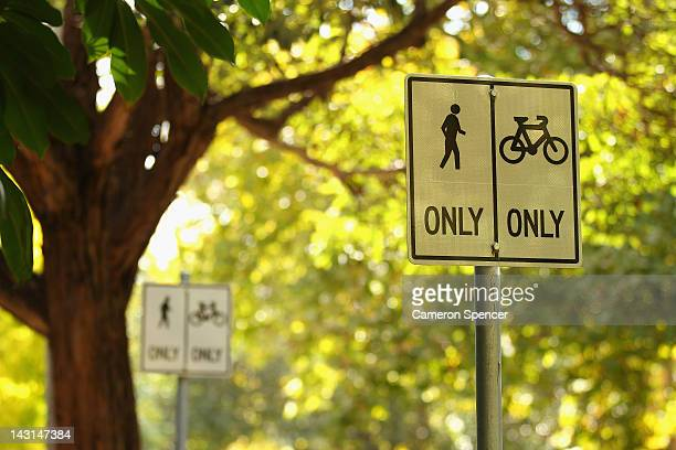 Traffic and cycling signs are seen on the Bourke Street cycleway on April 20 2012 in Sydney Australia The cycle lanes throughout the Sydney CBD cost...