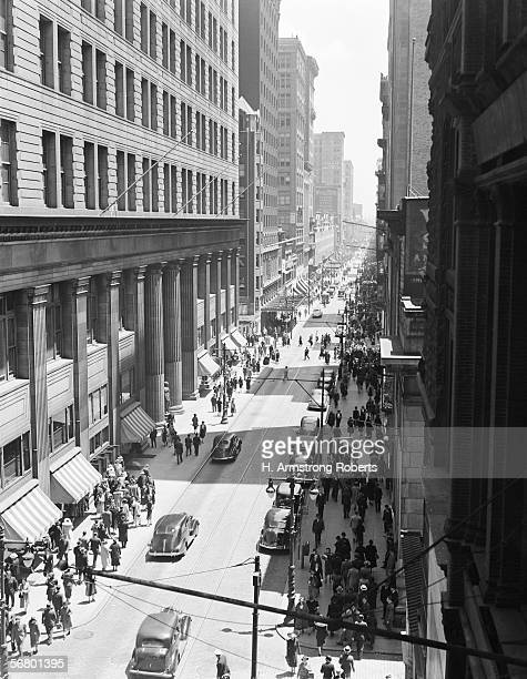Traffic and pedestrians on Chestnut Street Philadelphia aerial view