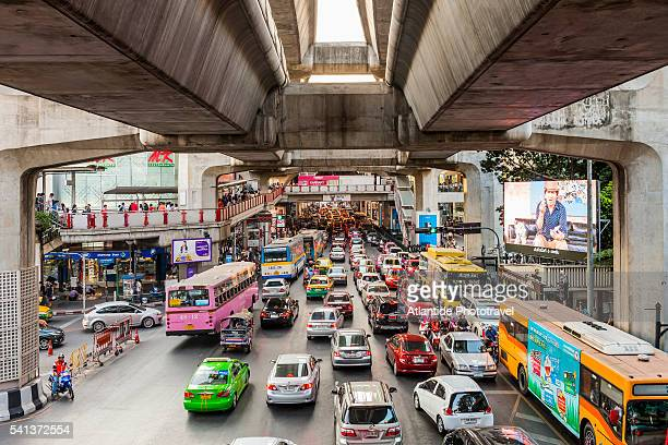 Traffic and the BTS Skytrain structure near Siam Square