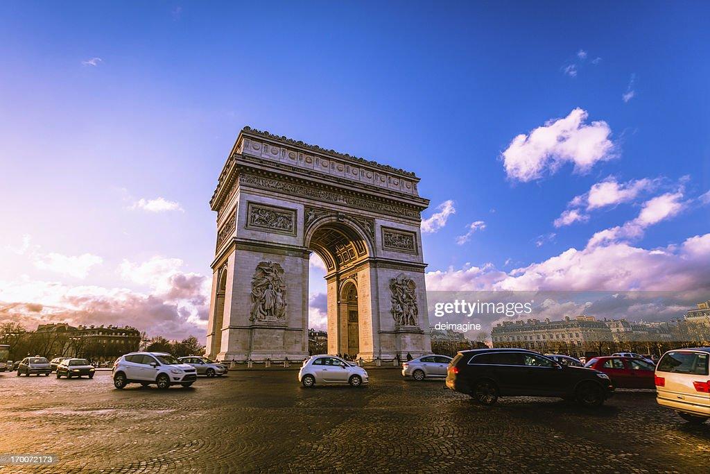 Traffic at Arc de Triomphe Paris