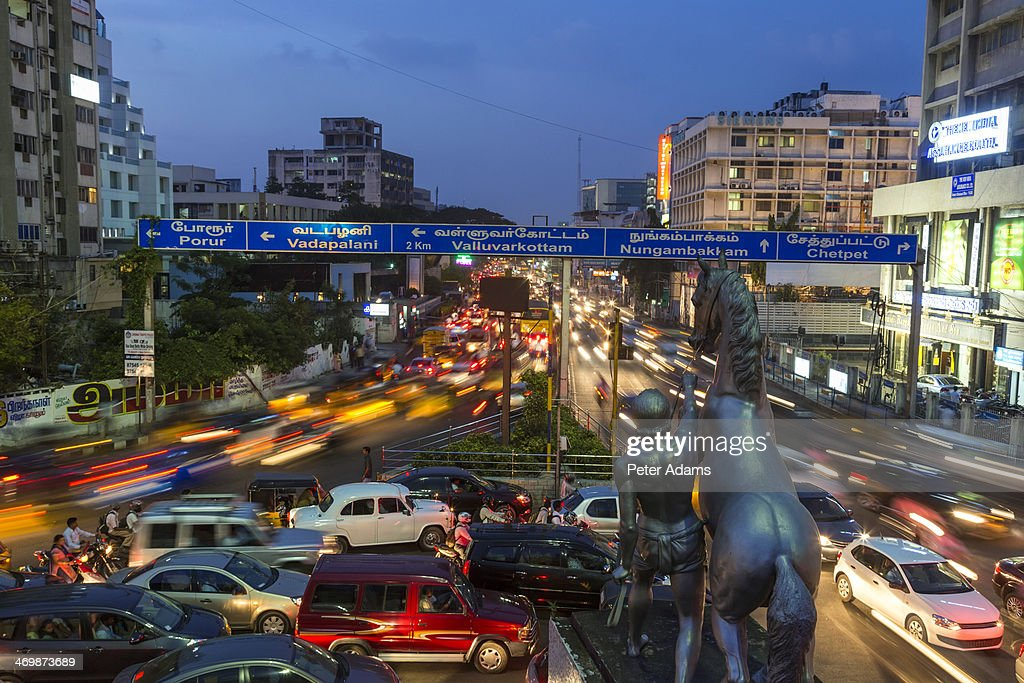 Traffic at dusk, central Chennai, (Madras)