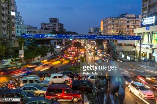 Traffic at dusk, central Chennai, (Madras)