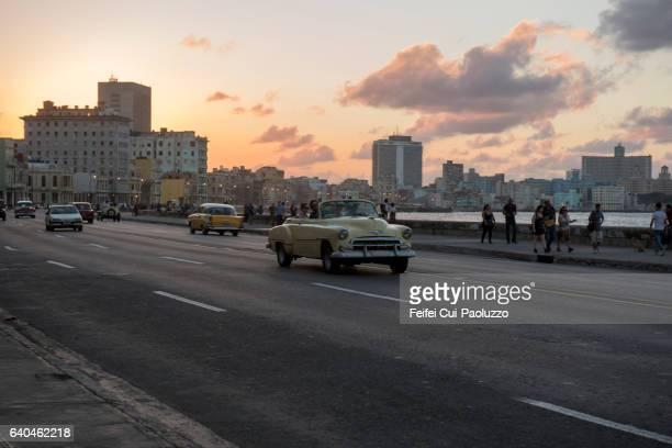 Traffic at street of Malecon Havana in Cuba