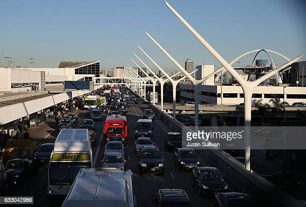 Traffic backs up at Los Angeles International Airport due to a demonstration against the immigration ban that was imposed by US President Donald...