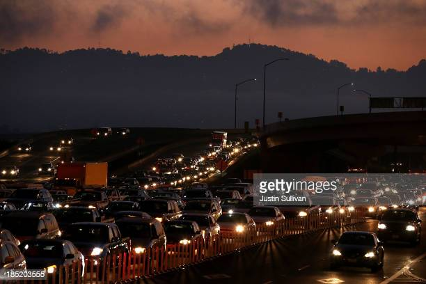 Traffic backs up at the San FranciscoOakland Bay Bridge toll plaza as commuters make their way into San Francisco on the first day of the BART strike...
