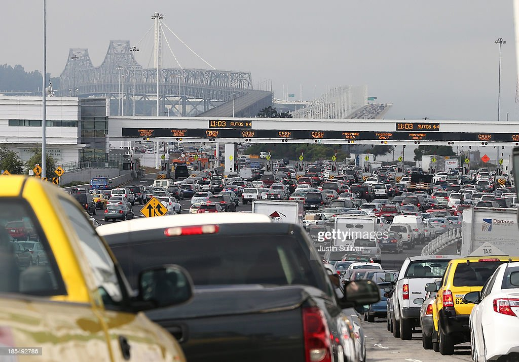 Traffic backs up on Interstate 80 at the San Francisco-Oakland Bay Bridge as the Bay Area Rapid Transit (BART) strike snarls the Monday morning commute on October 21, 2013 in Oakland, California. BART workers continue to strike after contract negotiations between BART management and the transit agency's two largest unions fell apart last week. Management and unions agreed on the financial specifics of the contract but differed on workplace safety rules. An estimated 400,000 commuters ride BART each day.