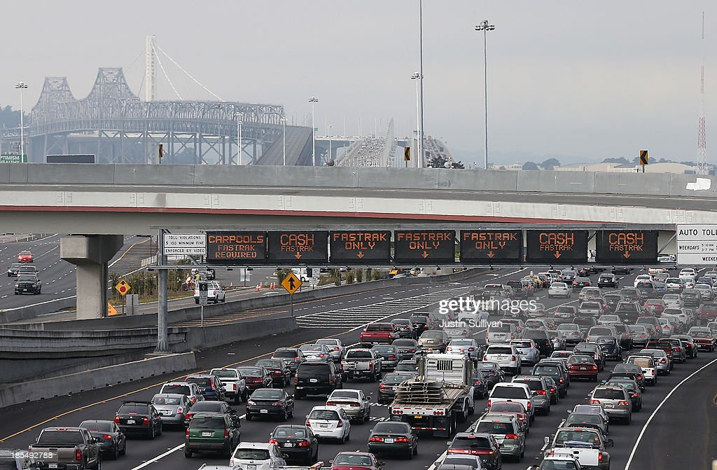 Traffic backs up on Interstate 80 at the San Francisco-Oakland Bay Bridge as the Bay Area Rapid Transit (BART) strike snarls the morning commute on October 21, 2013 in Oakland, California. BART workers continue to strike after contract negotiations between BART management and the transit agency's two largest unions fell apart last week. Management and unions agreed on the financial specifics of the contract but differed on workplace safety rules. An estimated 400,000 commuters ride BART each day.
