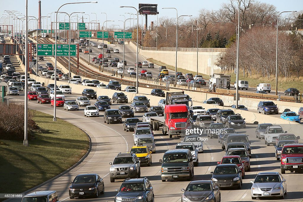 Traffic backs up on the Kennedy Expressway as commuters and holiday travelers try to get an early start on their Thanksgiving travel on November 27, 2013 in Chicago, Illinois. The Illinois Tollway expects about 10 million vehicles to travel through the states toll system from today until Monday. Chicago's Department of Aviation said it expects another 1.9 million to travel through the city's two airports during an eight-day Thanksgiving travel period which ends December 3. A wintry storm system that is covering much of the nation is threatening to wreak havoc on holiday travel especially in the South and Northeast.