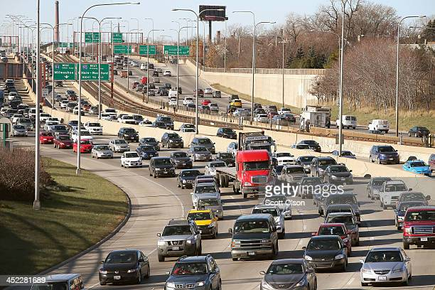 Traffic backs up on the Kennedy Expressway as commuters and holiday travelers try to get an early start on their Thanksgiving travel on November 27...
