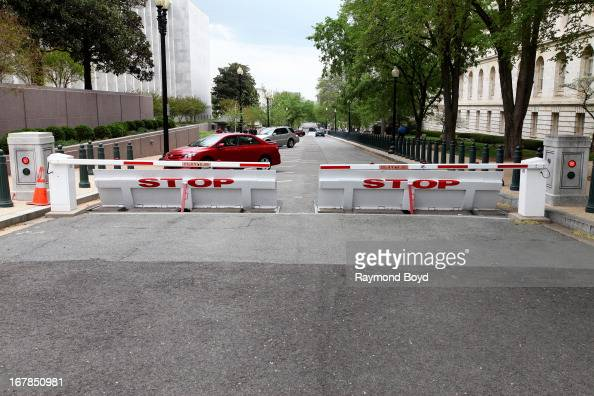 Traffic barriers sits outside the Cannon House Office Building in Washington D C on APRIL 19