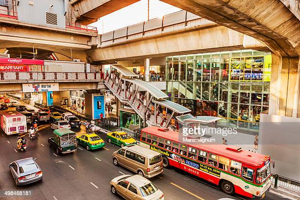 Traffic, BTS Skytrain structure near Siam Square
