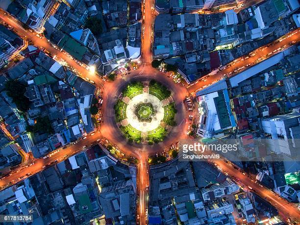 traffic circle and intersection from aerial view of Bangkok, Thailand