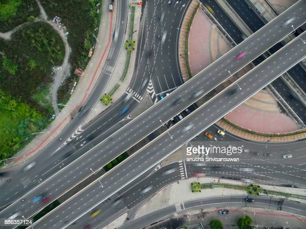 traffic circle, top view road, Intersection in town.