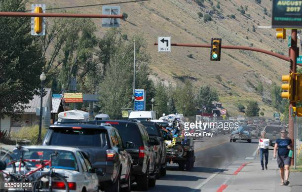 Traffic clogs the main road on August 20 2017 in Jackson Wyoming People are flocking to the Jackson and Teton National Park area for the 2017 solar...