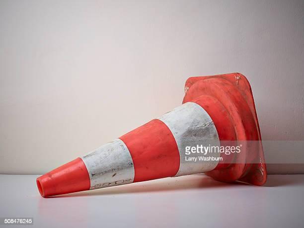 Traffic cone fallen on floor