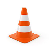 Traffic cone on white Background. Computer generated image.