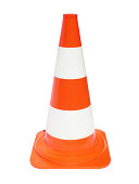 Traffic cone with scratches isolated on white.