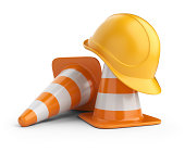 Traffic cones and hardhat. Under constructiom. 3D icon isolated on white