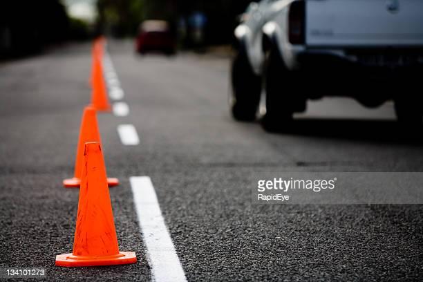 Traffic cones at dusk or dawn