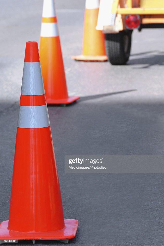 Traffic cones, close-up