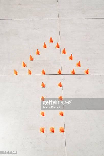 Traffic cones in arrow formation