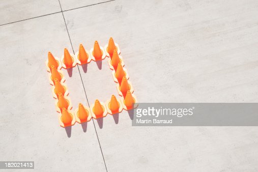 Traffic cones in square formation