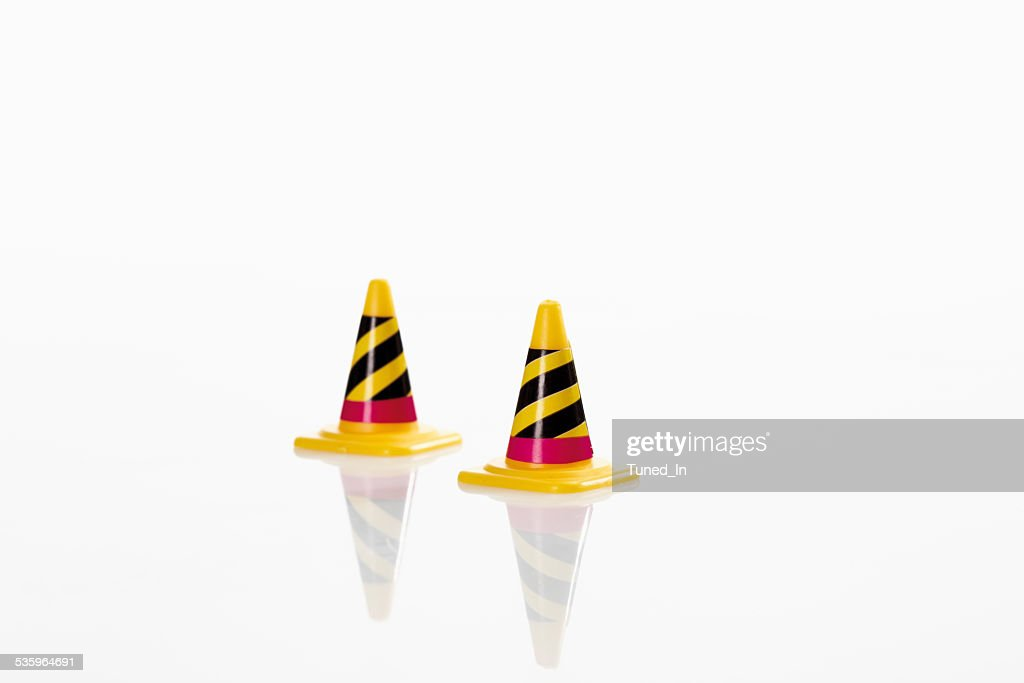 Traffic cones on white background : Stock Photo