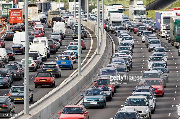 Traffic congestion at a standstill in both directions on M25 motorway London United Kingdom