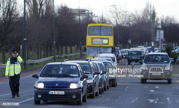 Traffic congestion at the scene of a crash between a Luas tram and a Lorry on Suir Road Dublin