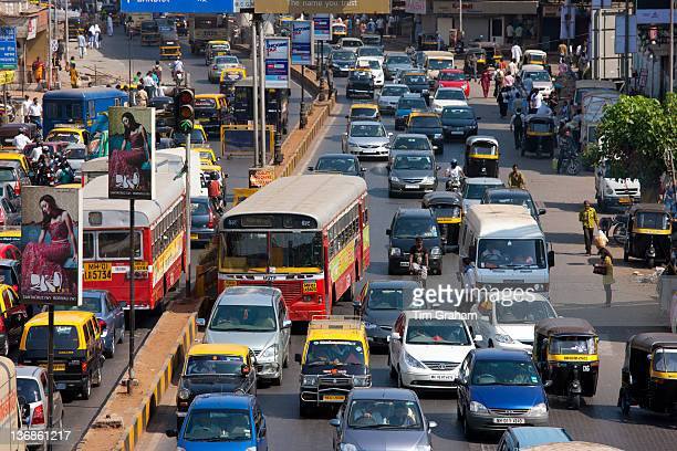 Traffic congestion on downtown highway to Bandra Andheri and Santacruz and access route to the BKC Complex in Mumbai India