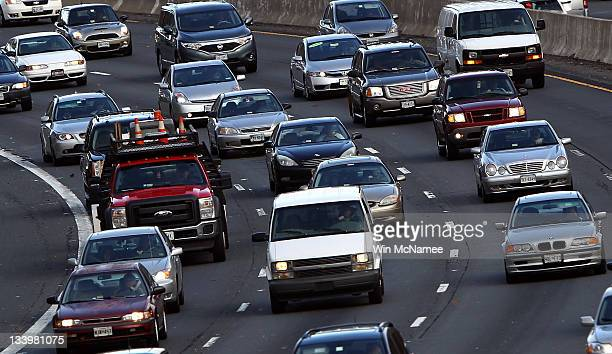 Traffic converges on highway I495 South just west of the nation's capital on one of the busiest travel days of the year November 23 2011 in McLean...