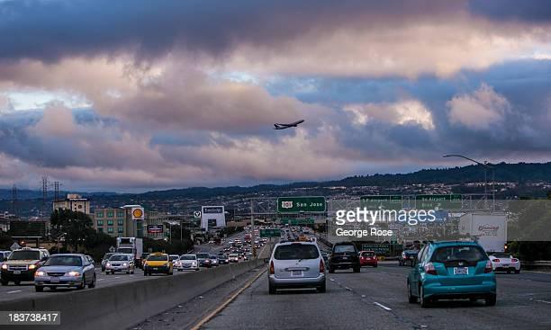 Traffic crawls along Highway 101 near San Francisco International Airport on September 20 in San Francisco California More than 136 million...