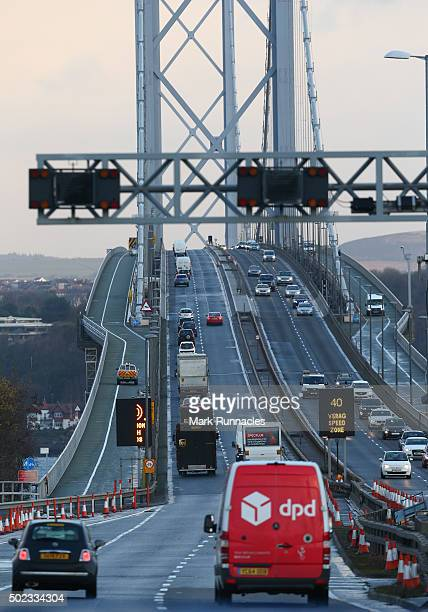 Traffic crosses the Forth Road Bridge as it reopens to all traffic except HGV's on December 23 2015 in South Queensferry Scotland The Forth Road...
