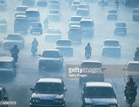 Traffic driving in pollution, Bankok, Thailand : Stock Photo