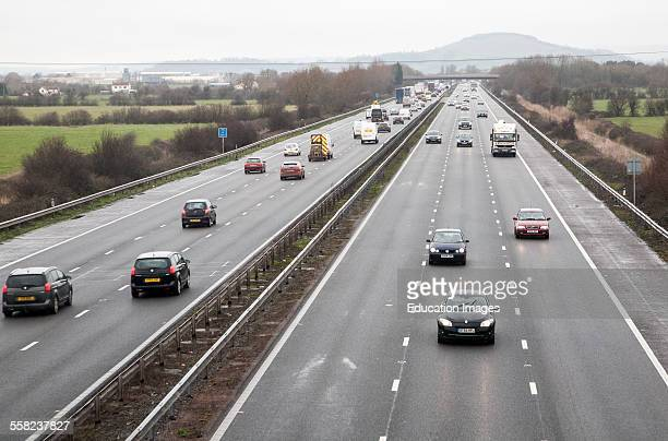 Traffic driving in winter on the M5 motorway near Bridgwater Somerset England looking north