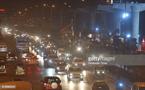 Traffic due to launching event of the first U girder of the Metro7 corridor Andheri east to Dahisar east stretch Metro7 corridor on May 3 2017 in...