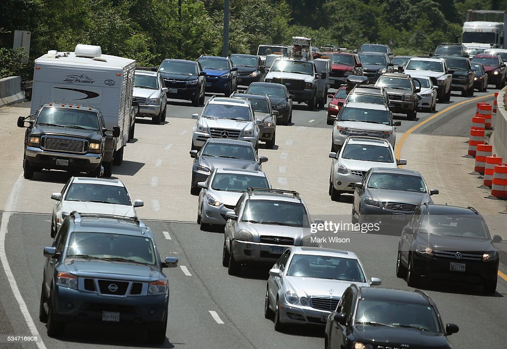Traffic eastbound on Rt 50 moves at slow pace toward the Chesapeake Bay Bridge, May 27, 2016 in Annapolis, Maryland. Area traffic is expected to be heavy through the Memorial Day weekend.
