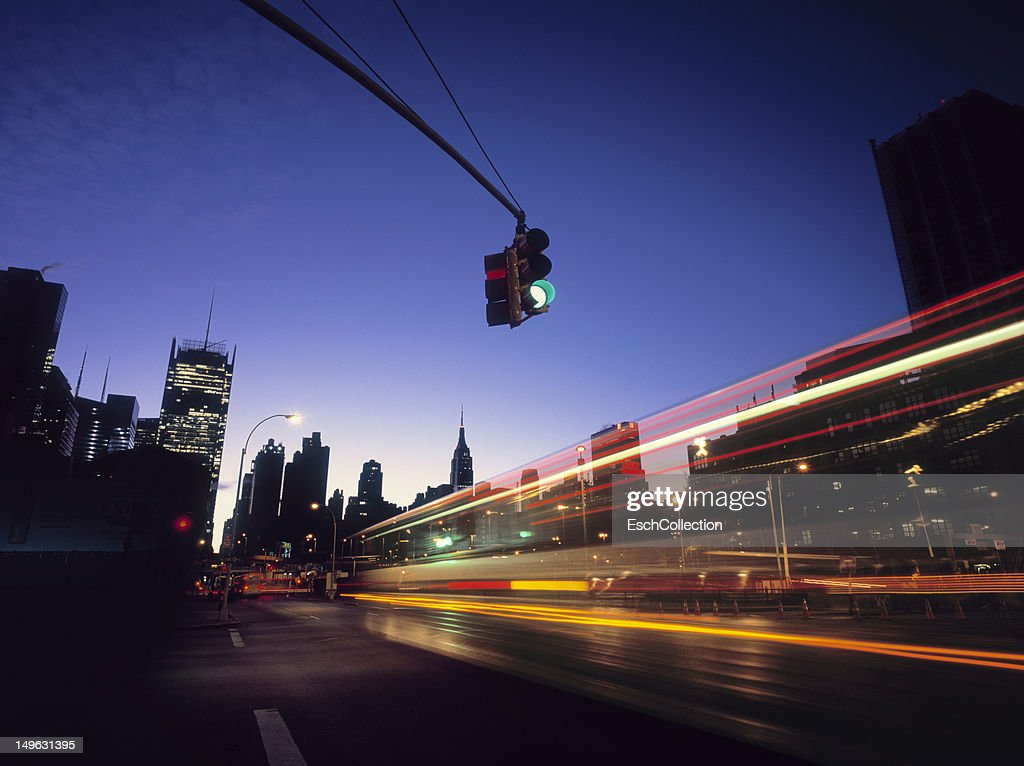 Traffic entering Midtown, New York at early dawn. : Stock Photo