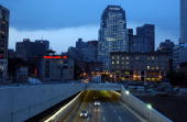 Traffic exits from a section of the highway known as the 'Big Dig' heading south along Interstate 93 July 11 2006 in Boston Massachusetts A 10X30...