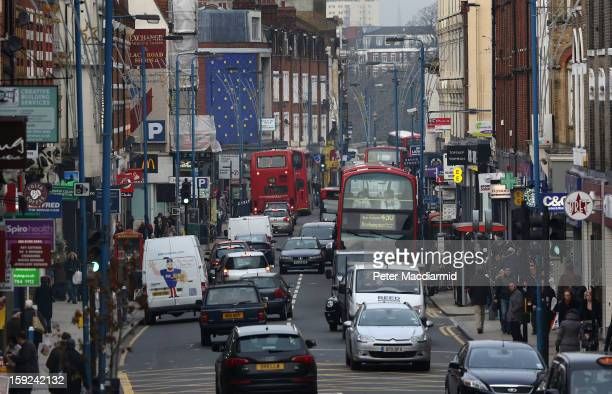 Traffic fills Putney High Street on January 10 2013 in Putney England Local media are reporting environmental campaigners claims that levels of...