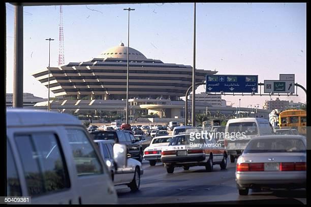 Traffic flow framed by prob Interior Ministry bldg