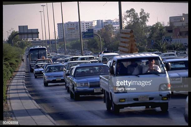 Traffic flowing on urban highway